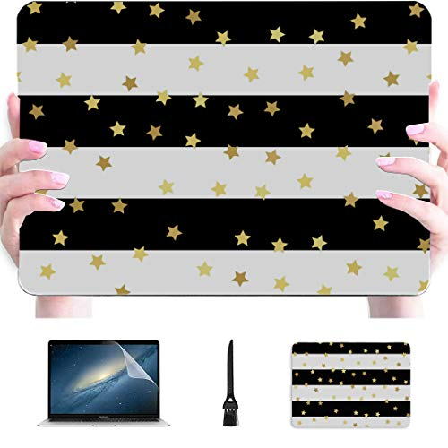 MacBook 2017 Case Gold Glitter On Black White Strip Plastic Hard Shell Compatible Mac Mac Cover Protection Accessories for MacBook with Mouse Pad