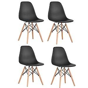 ⭐ DESIGN ELEGANTE - Set di 4 sedie nere con gambe in legno. In stile scandinavo, queste sedie di design donano alla tua casa un aspetto esclusivo. Con la seduta moderna in polipropilene atossico comodità e robustezza sono garantiti. 🌳 MATERIALE- Sedu...