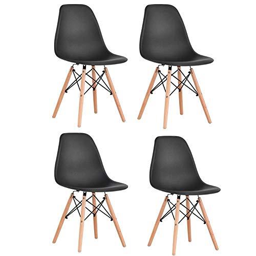 Brigros - Sedie da Cucina 4 Pezzi Nere, sedie Moderne Design, sedie Nere scandinave, sedie Sala da Pranzo Set di 4 sedie con Gambe in Legno (Nero)
