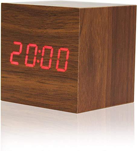 Digitale LED-Wecker aus Holz, Würfel mit Sprachsteuerungsthermometer Kalenderanzeige Tragbare Uhr für das Büro zu Hause Schlafzimmer