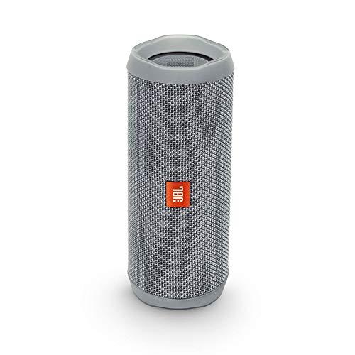 JBL Flip 4 Bluetooth Box in Grau, Wasserdichter, tragbarer Lautsprecher mit Freisprechfunktion & Alexa-Integration, Bis zu 12 Stunden Wireless Streaming mit nur einer Akku-Ladung