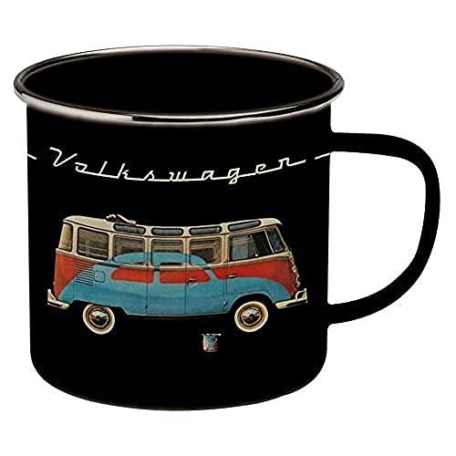 Brisa VW Collection - Volkswagen Furgoneta Hippie Bus T1 Van Taza de Café metálica Esmaltada en Caja de Regalo, Copa de Té, Decoración de la Mesa/Outdoor/Camping/Souvenir (Negro)