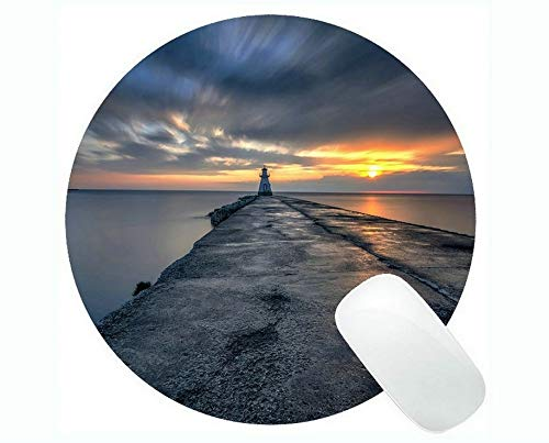 Yanteng Round Mouse Pads,Lighthouse Sea Cliffs Water Away Road Mouse Pads