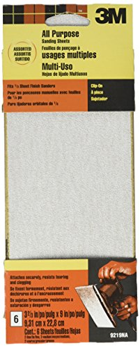 3M Power Sanding Sheets, Asst. Grit, 3 2/3-in by 9-in, 6-pack (9219NA)