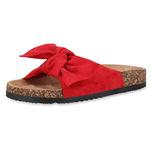 Minetom Donna Estive Sandali Piatto Fiocco Punta Aperta Basse Scarpe Spiaggia Mare Comode Eleganti Stile Boemo Moda Ciabatte Rosso 39 EU