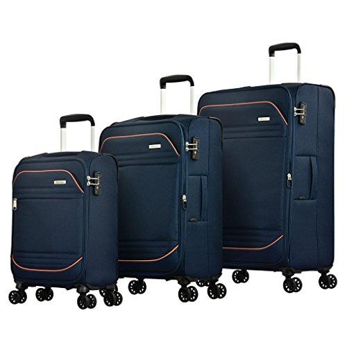 Eminent Bagage Set Barcelona 3 stks Lichtgewicht 4 Stille dubbele wielen TSA-slot Blauw