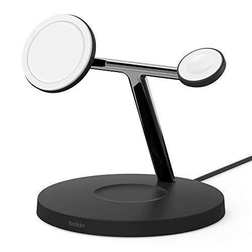 Belkin BoostCharge PRO - Cargador inalámbrico 3 en 1 (con MagSafe para iPhone 12, Apple Watch y AirPods, carga magnéticamente modelos de iPhone 12 con hasta 15 W) negro