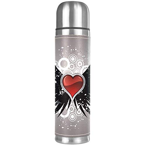 Thermos ThermoCafé Botella térmica aislada,Pincel de Mapache Pintura Roja Del Arte,Frasco de Vacío de Acero Inoxidable 500 ml