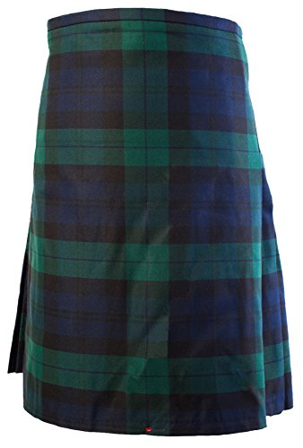 Gents Scottish Kilt Full 8 Yard 24in Drop Waist 28-30 Colour Black Watch Tartan