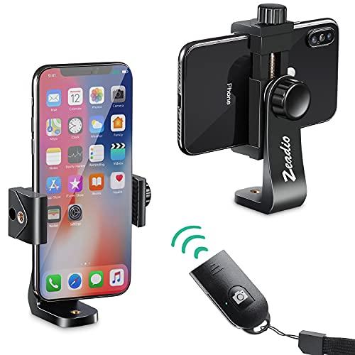 Zeadio Adaptateur Trépied de Smartphone, Support de téléphone Trepied, Pince réglable Selfie Stick Monopod, Support pivotant Vertical et Horizontal, pour iPhone, Samsung et Tous Les téléphones