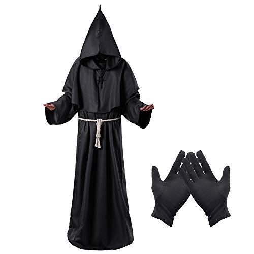 Lifreer - Disfraz de monje medieval con capucha, disfraz de monje y monje del renacimiento, capa para disfraz de Halloween, Small
