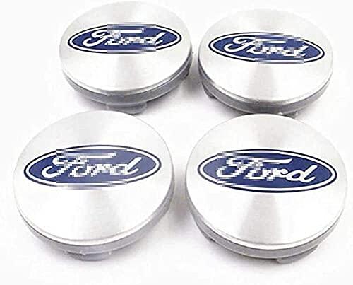 4 Piezas Tapacubos, para Ford Focus 2 Focus 3 Fiesta F-150 Kuga Fusion, Impermeable Antióxido Decoración Accesorios Tapas Centro Rueda, Modificadas Hub Caps con Emblema, 56MM