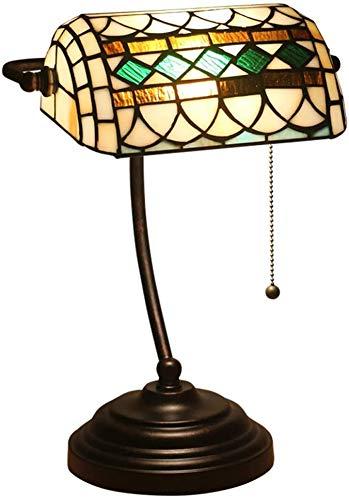 ZHIRCEKE Lámpara de banquero barroca, lámpara de Noche de Deco Dormitorio con Interruptor de tracción, Pantalla de Cristal manchada Hecha a Mano, lámpara de Lectura [Clase de energía A +++]