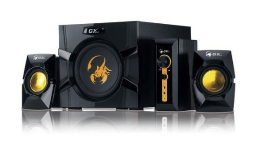 Genius GX-Gaming SW-G2.1 3000 with Two Input Jacks for Game Consoles, DVD, TV, MP3 Players, Mac, PCs, and Laptops (Black, Yellow)