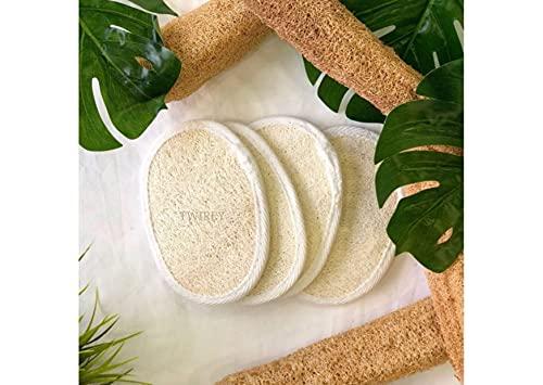 TWIREY Exfoliating Loofah Sponge Pads- 100% Natural Loofah Sponge Scrubber Body Glove - Men and Women (Pack of 6)