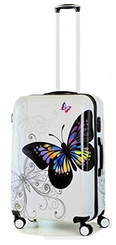 DK Luggage Lightweight ABS PC Hardshell Cabin 20' Suitcases 4 Wheel Spinner Butterfly
