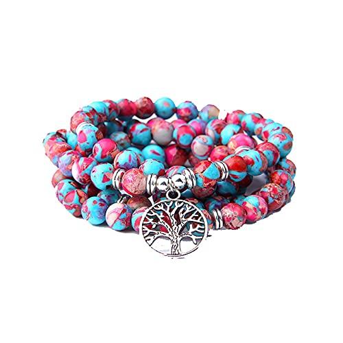 108 Mala Collar Piedra Natural Púrpura Imperial Jaspers Cuentas con Lotus OM Buddha Charm Pulsera para Mujeres Hombres Joyería de Moda Longitud de la cadena 90CM