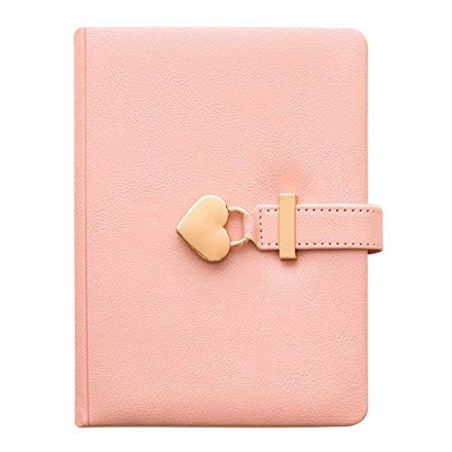Cuaderno de la contraseña de la cuaderno, diario con cerradura, cuaderno engrosado 135 * 180 mm B6 5.3 * 7 en la cubierta dura de PU, Bloc de notas Regnatorio Protección de ojos Diario de papel