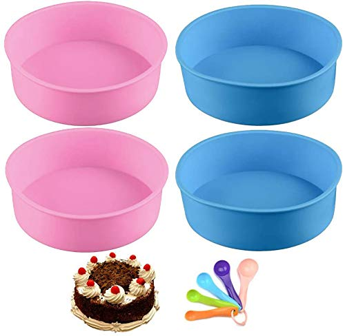 6 inch Silicone Cake Mould Round Non-Stick Cake Tins Layered Cake Baking Pans Molds Kitchen Bakeware Tray Pie Pastry Baking Trays 4 Pcs Pink and Blue