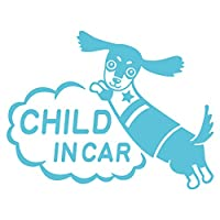imoninn CHILD in car ステッカー 【シンプル版】 No.38 ミニチュアダックスさん (水色)