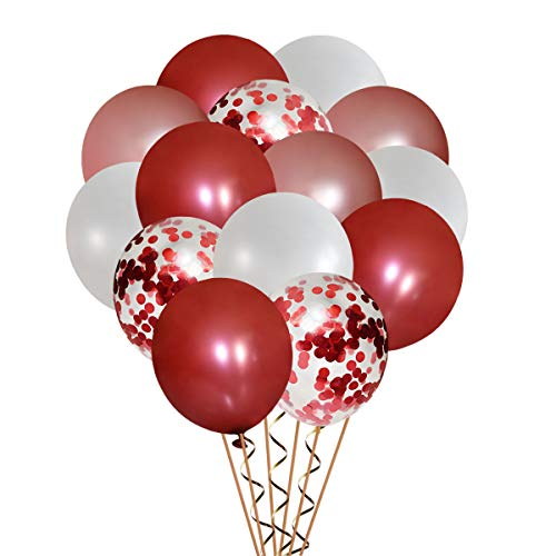 50 Pack Burgundy & Rose Gold & White Latex Balloons & Wine Red Sequins Balloons Set Birthday Party Wedding Bridal Shower Engagement Baby Shower Decorations (12 Inch) Anniversary Graduation Supplies