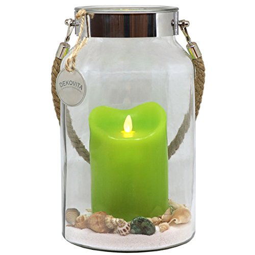 Dekovita Geschenkidee 30cm Dekoglas LED-Echtwachs Kerze grün m. bewegter Flamme u. Deko-Sand Ostern...