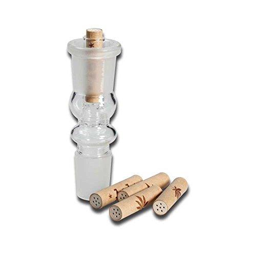 Black Leaf Bong Adapter 18,8 NS für Aktivkohlefilter inkl . 5 lol Tip Tube Filter Aktivkohle Bongadapter Wasserpfeife