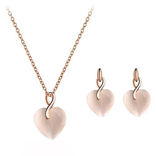 Collares para mujeres aman corazón cristal colgante collar pendientes joyería traje mejor amigo regalo de cumpleaños