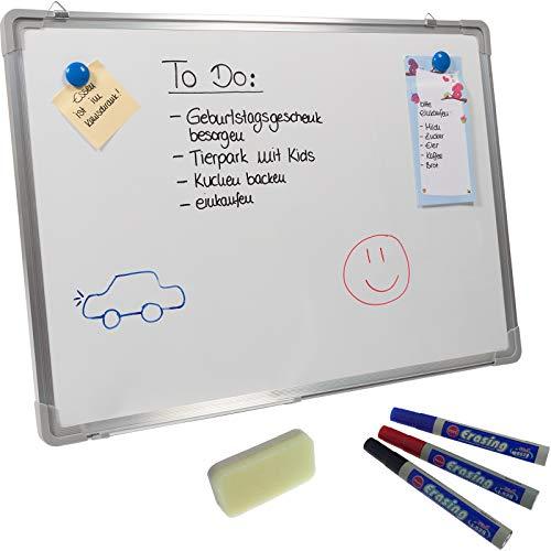 Smartfox Beschreibbare Magnettafel Whiteboard mit Stiftablage inkl. Magnete, Marker, Schwamm - 70x50cm