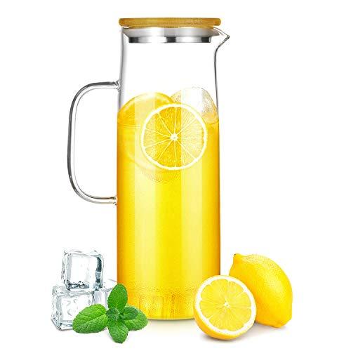 CNNIK Jarras de Cristal, 1500ml Borosilicato Jarras para Agua con Tapa de Bambú Natural, Botella de Cristal, Jarras de Vidrio para Bebida Caliente/Fría (sin BPA)