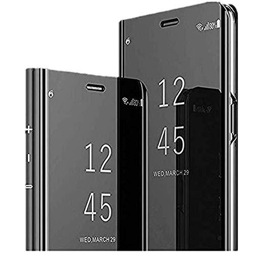Funda con tapa para Samsung Galaxy J7 Max (efecto espejo, con función atril), diseño galvánico Negro  Talla única