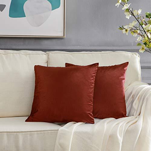 GIGIZAZA Decorative Couch Throw Pillow Cover,Sofa 18x18 Burnt Orange Throw Pillows,Square Farmhouse Velvet Throw Cushions