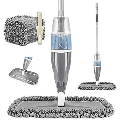 Tencoz Spray Mop, Fregona con Vaporizador, Mopa Fregona con 3 Trapos de Microfibra y 640ML Depósito de Agua, Mopa Spray para la Limpieza del Hogar