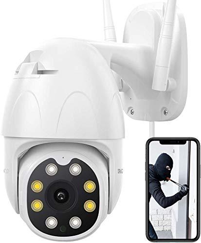 Dragon Touch OD10 Cámara IP de Vigilancia Exterior WiFi 1080P HD PTZ Compatible con Alexa y Google Home, Visión Nocturna, Audio Bidireccional, Detección de Movimiento, Resistente al Agua