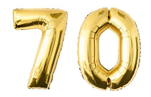 Folienballon 70 gold Zahlenballon Luftballon Riesenzahl Party Hochzeit Kindergeburtstag Geburtstag