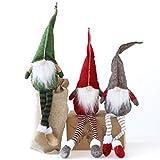 Set di 3 gnomi Natalizi — Gnomo di Natale — Gnomi scandinavi Tomte Fatti a Mano per Decorare la casa — Babbo Natale Adorabile Ornamento Natalizio — Materiali di Prima qualità — Verde, Rosso, Grigio