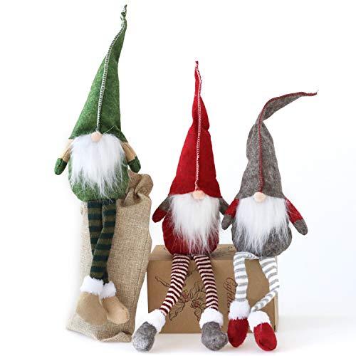 Fettinow Juego de 3 gnomos de Navidad, gnomo, Adornos navideños, Hecho a Mano, escandinavo, para decoración de la casa, Adornos de Papá Noel para Navidad, Materiales Premium, Verde, Rojo, Gris