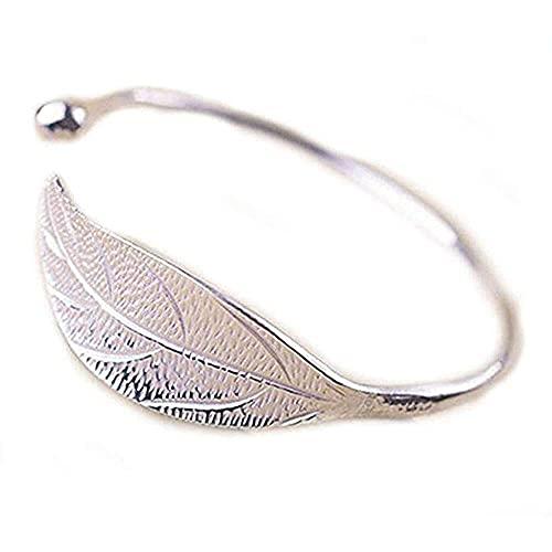 chaosong shop Pulsera de moda con diseño de hojas de plata, regalo para el día de San Valentín, estilo vintage, ajustable, para mujeres y niñas