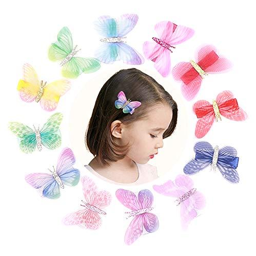 VCOSTORE 12 Stk Fee Schmetterling Haarspangen, Glitzer Haarspangen Zubehör Bowknot Haarnadeln für Frauen Teen Girl