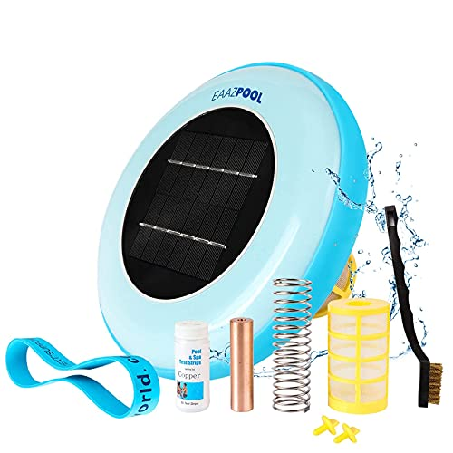 EAAZPOOL Solar Pool Ionizer | Up to 85% Less Chlorine | Pool Cleaning Device | Solar Chlorine Free Pool Purifier & Sanitizer | Longer-Lasting Anode | Replacement Warranty | Up to 45,000 Gallons