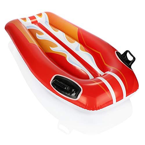 com-four Surfer Gonfiabile - Materasso ad Aria Surfer - Materasso da Bagno con Maniglie per Bambini in Colori Vivaci (01 Pezzo - Rosso)