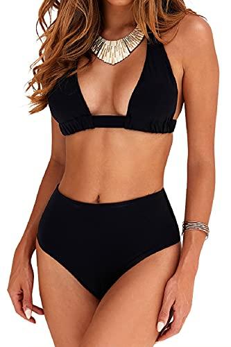 Voqeen Costumi da Bagno Donna Vita Alta in Due Pezzi Bikini Swimsuit Stampa Floreale Abiti da Spiaggia Perizoma Reggiseno Imbottito Halter Bendare Tankini(Nero,M)