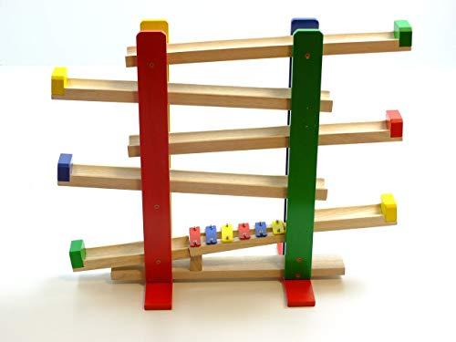 Unbekannt Schöne Holz-Kugelbahn mit Xylophon + 4 farbigen Kugeln (Durchmesser: 45 mm) für Kinder ab 1 Jahr geeignet