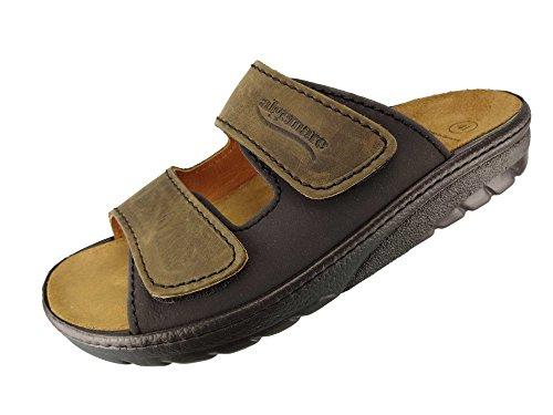Algemare Herren Pantolette Leder Algen-Kork Wechselfußbett waschbar Nubuk 7260_0378 Sandalette Fußbettsandale, Größe:44 EU
