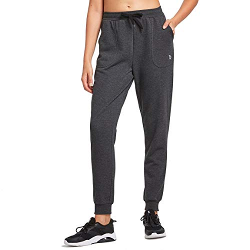 BALEAF Women's Cotton Jogger Sweatpants Warm Fleece Lined Lounge Pants Running Workout Active Pants with Pockets Charcoal Size XL