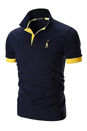 YCUEUST Polo para Hombre Manga Cortas Bordado Contrast Collar Golf Camiseta Azul EU XL