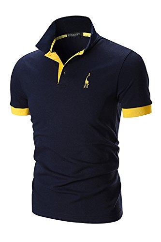 YCUEUST Uomo Cotone Giraffa Ricamo Manica Corta Polo Tennis Golf Casual T-Shirt Blu Small