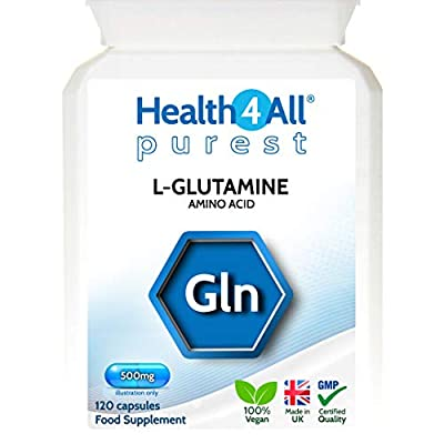 L-Glutamine 500mg 120 Capsules (V) Purest: no additives. for Leaky Gut and Alkaline-Acidic Balance. Vegan. Made by Health4All
