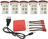 ZYGY 5pcs 3.7V 500mAh Lipo e Caricabatterie 5in1 per SYMA X5UW...