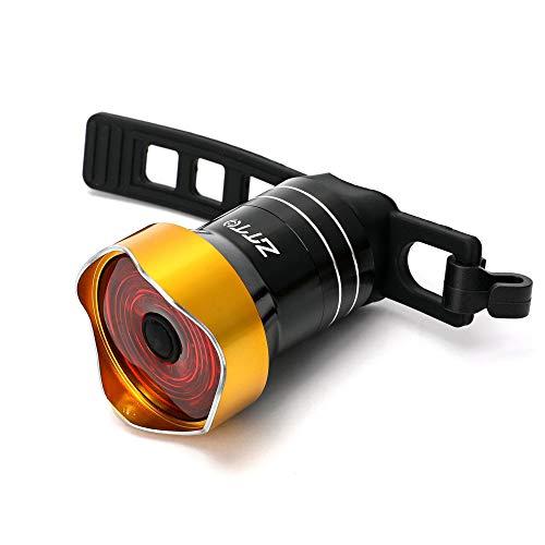 Akin - Luz trasera para bicicleta (recargable, USB, LED, con correa ajustable, 100 lúmenes, con sensor de freno de estacionamiento, IP65, resistente al agua, luz trasera de bicicleta